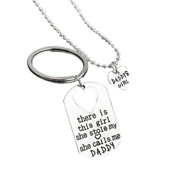 "Father Daughter Keychain & Daddys Girl Necklace Set ""There's This Girl Who Stole My Heart She Calls Me Daddy"" Daddy Gifts From Daughter & Father's Day Gift"
