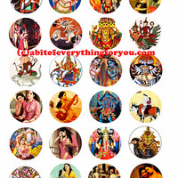hindu krishna gods goddesses printable collage sheet women men clipart digital download 1.5 inch circle graphics India deities images