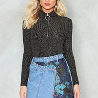 Get Even Asymmetric Denim Skirt