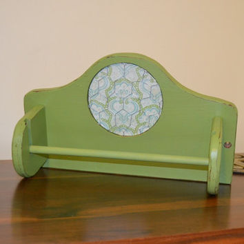 Paper Towel Holder Green Shabby Chic Upcycle Recycle Handmade LittlestSister
