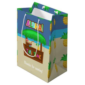 Kids Hawaiian Luau Party Guest Favor Medium Gift Bag