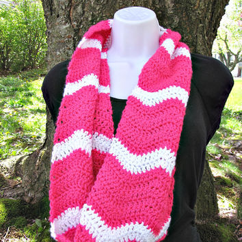 Neon Pink and White Summer Stripe Crochet Infinity Scarf/Cowl/ Hand Crocheted, Ready to Ship, Lightweight, Versatile, Zig Zag, Chevron