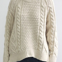 White Cable Detail Side Split Long Sleeve Loose Sweater