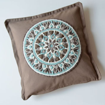 Crocheted Mandala Pillow - Cushion for meditation - Brown and Mint pillowcase