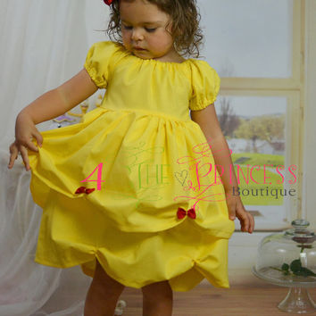 Belle inspired peasant dress , princess dress , yellow dress , Disney vacation
