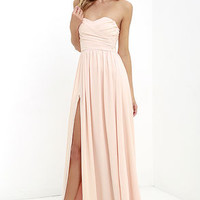 Moonlight Serenade Peach Strapless Maxi Dress