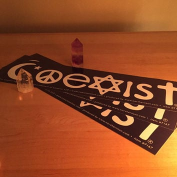 Coexist Bumper Sticker - hippie sticker, yin yang sticker, peace sticker, grateful dead sticker