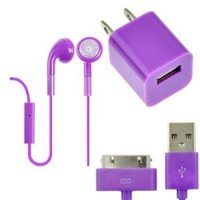 EarlyBirdSavings Wall Charger + Earphones Headphones W/Mic + USB Cable for iPod iPad iPhone 4 4S