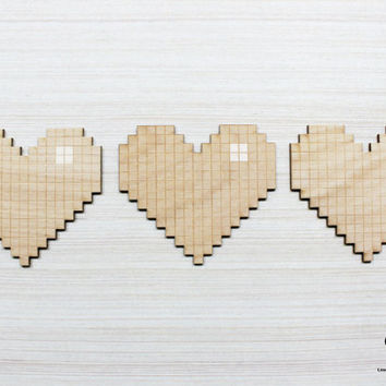 8 Bit Heart - Laser Engraved Wood Magnet