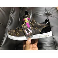 LV Louis Vuitton Fashion Woman Personality Casual Flats Sport Shoes Sneakers Coffee LV Print I-ALS-XZ