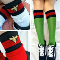 Gucci Fashion Striped Bee Embroidery Socks Stockings