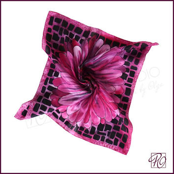 Hand Painted Silk Scarf Pink Black, Bandana, Small Square Scarf, Neck Scarf Silk Floral Pink Daisy. Gift For Her. Ready to ship.