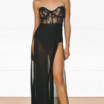 Indie XO Lucia Black Sheer Mesh Floral Lace Strapless Bustier Double Split Maxi Dress