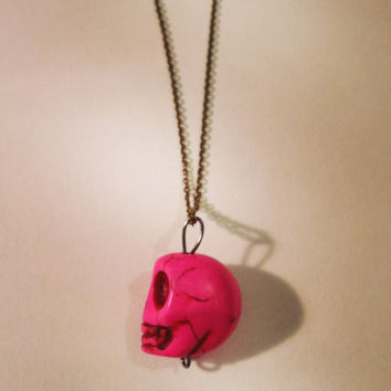 Pink Skull Necklace by RabbitJewellery on Etsy