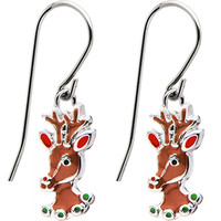 Stainless Steel Holiday Reindeer Earrings | Body Candy Body Jewelry