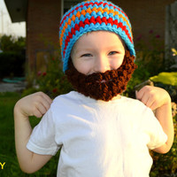 READY TO SHIP Beard Hat - Size 3-8 Years - Blue Orange Red Bearded Beanie