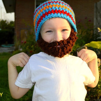 Beard Hat- Blue Red Orange- All sizes- Bearded Beanie
