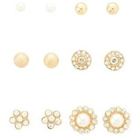Gold Pearl & Rhinestone Stud Earrings - 6 Pack by Charlotte Russe