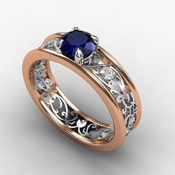 Blue sapphire engagement ring, rose gold, white gold, diamond ring, filigree engagement, two tone, blue engagement, unique, vintage style