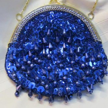 """Vintage  Blue Beaded/Sequined Evening Purse Flapper Style Size 6"""" 1/2 exterior x 7"""" Gold Chain Strap Long 40"""""""