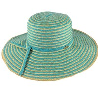 Cappelli Straworld Wide Brim Straw Sun Hat with UPF 50+ Sun Protection (Turquoise)