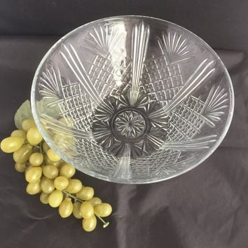 #0027 Covetro Italy Pressed glass Serving bowl-Pineapple design