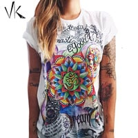 S-XXL Plus Size Graphic Tees Women T-Shirt Hip Hop Feminino Punk Rock Shirt Print Top Women tshirts Cotton Summer 2016