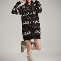Wool yarn Cardigan Front Button Deer Patterns Long Women Sweater just one size