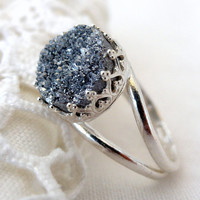Druzy ring, Gray druzy ring, Gemstone ring, Sterling Silver or Gold ring, Titanium druzy ring, Cocktail ring, 10 mm stone, Vintage ring