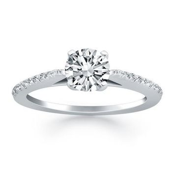 14K White Gold Micro Prong Diamond Cathedral Engagement Ring, size 6