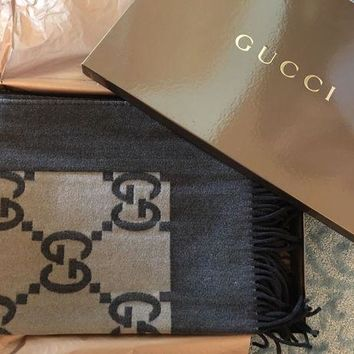 New Gucci Throw Wool Blanket Rare Brown Logo Print $995 Made In Italy