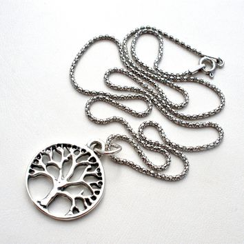 Sterling Silver Tree Of Life Pendant Chain Necklace 18 Inch