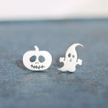 Lovely 925 Silver Halloween Ghost Earrings [36787781639]