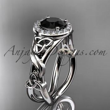 platinum diamond celtic trinity knot wedding ring, engagement ring with a Black Diamond center stone CT7302
