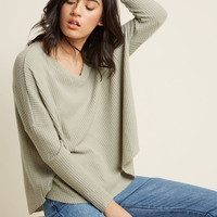 More Soften Than Not Waffle Knit Top in Muted Moss