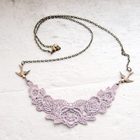 Lace Necklace - Laurelin - Rose Chrome Hazy Lilac Lavender Purple Lace Jewelry - Bridesmaid Necklace
