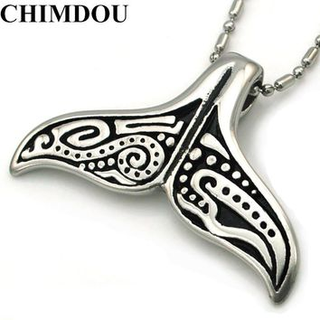 CHIMDOU Lovely  Whale Tail Pendant Stainless Steel Necklace Chain for men or women, Christmas gift, ROCK Biker Rider Jewelry