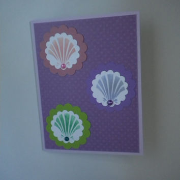 Trio of Shells Greeting Card/Blank Card by lilaccottagecards