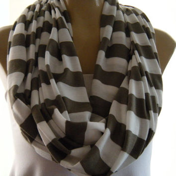 Olive and White striped jersey infinity scarf Casual stripes olive striped Nomad Cowl olive Infinity scarf olive loop scarf