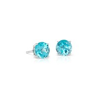 Blue Topaz Stud Earrings in 18k White Gold (7mm) | Blue Nile