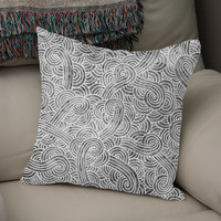 «Grey and white swirls doodle», Numbered Edition Coussin by Savousepate - From 25€ - Curioos