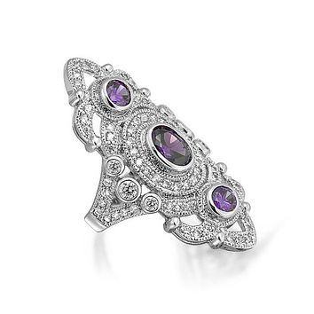 Purple Armor Full Finger Ring Simulated Amethyst CZ Silver Plate Brass