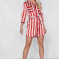 A Step in the Stripe Direction Satin Dress
