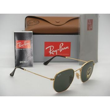 Cheap New Authentic Ray-Ban RB 3548N 001 51mm Shiny Gold Frame Flat Crystal Green G15