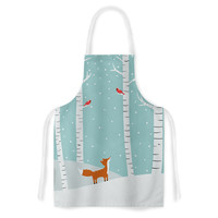 "Cristina bianco Design ""Fox Cardinals Winter"" Blue Kids Artistic Apron"