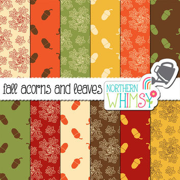 Autumn Digital Paper Pack - Acorns and Leaves in Fall Colors for Thanksgiving and Autumn Scrapbooking and Invitations - commercial use