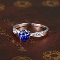 1.15ctw Round Tanzanite Engagement ring,VS Diamond Promise Ring,14K White Gold,Fashion Bridal Ring,wedding band,Blue Gemstone ring,3A Stone