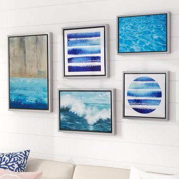 'Water Tide Gallery' 5 Piece Framed Graphic Art Print Set on Canvas