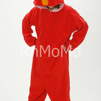 KIGURUMI Cosplay Romper Charactor animal Hooded PJS Pajamas Pyjamas Xmas gift  Adult  Costume sloth  outfit Sleepwear-elmo