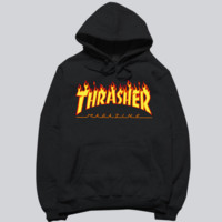 """Thrasher"" skateboard fleece male add wool cotton hoodie flame Black"